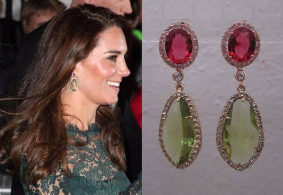 Kate Middleton Duchess Of Cambridge Inspired Replikate Chandelier Pear Drop Green Amethyst Pink Tourmaline Halo Crystal Earrings by Etsy