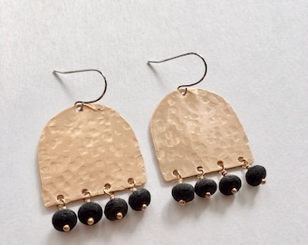 Long Half Circle Earrings - Shield Earrings - Bronze Dangle Earrings - Minimalist Earrings - Black Lava Earrings  0059