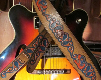 Custom Hand Tooled Leather Guitar Strap, Buckle Adjustment