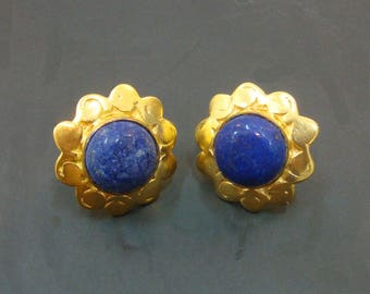 Royal 925 Sterling Silver Lapis Lazuli Gold Plated Stud Earrings For GIFT