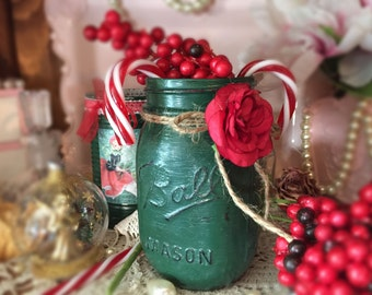 Christmas Ball Mason Jar Forest Green Table Decor Glass Vase Centerpiece Red Paper Rose Jute Bow Ribbon Rustic Shabby Chic Xmas Gift Idea
