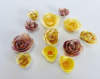12 paper yellow and dusty rose roses flowers liberty