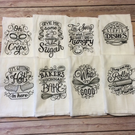 TWO TOWELS Kitchen Towels Flour Sack Towels Hand Towels