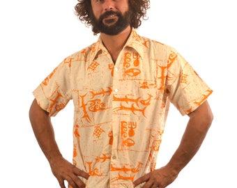 Vintage 60s Cotton Tiki Aloha Surf Barefoot Paradise Button Up Shirt