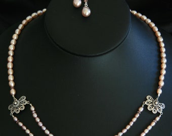 Original Artist Made Natural Cultured Freshwater Pearl and Sterling Silver Necklace Set