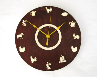 Round large farm wall clock, Kids Home Office Kitchen Wall art Children room, Romatic clock