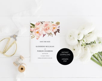 Printable Save the Date Card, Wedding Announcement,Blush Floral Watercolor, Engagement,Save the Dates,Template,Instant Download  - Katherine