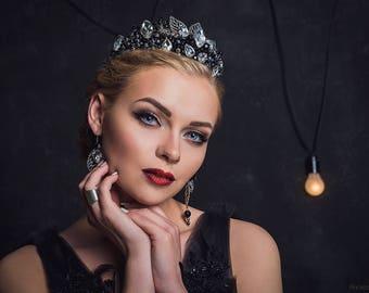 dark evil queen crown costume headdress black gothic tiara crystal silver wedding bridal baroque fashion crown halloween costume crown