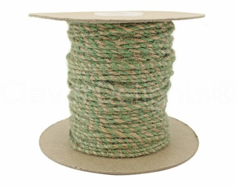 100 Yds - Mint / Natural Twisted Jute Twine - 3mm Premium Twine - Craft Bulk String Rope Cording - Gift Wrap, Packaging, Home and Garden