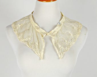 Lace Collar, 1940s Lace Collar, Victorian Lace Collar, Beige Lace, Steam Punk Collar, Detachable Collar, Fancy Collar, Sweater Collar,
