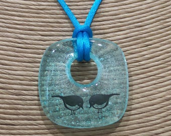 Love Bird Necklace, Pastel Blue Donut Pendant, Transparent Blue Fused Glass Jewelry, Ready to Ship - Lovebirds -5