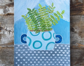 Original Watercolor Gouache Painting of Ferns in a Window Pot