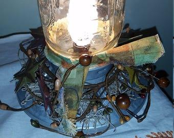 Homemade Rustic LAMP CHICKEN FOOD Feeder