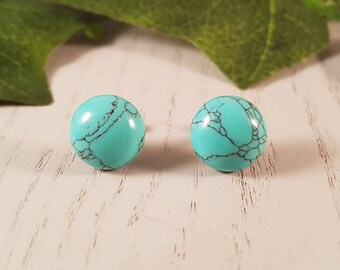 Turquoise Natural Gemstone Stud Earrings- Surgical Steel