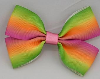 Rainbow Print Hair Bow 4in / 10cm