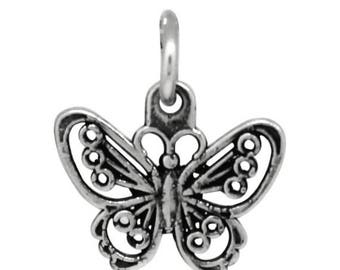 ON SALE Butterfly Charm Necklace Silver Oxidized