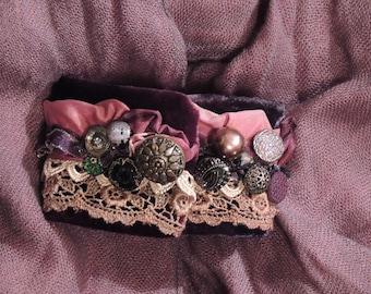 Velvet embellished  cuff bracelet, Victorian style