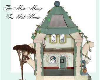 "Doll House - Mouse Dollhouse Miniature in 1/24"" Half Scale, A Printable Doll House, DIY, Kit, model, Mouse House SALE"