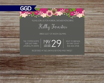 Boho Chic Bridal Shower Invitation with Flowers, boho chic Invitation, bridal shower invitation - Printed or Digital File