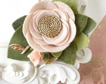 Light Blush Single Felt Flower Headband. Blush Baby Girl Flower Crown. Felt Flower Crown Toddler. Newborn Photo Prop. Wedding Floral Crown