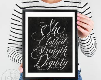"""Instant Printable """"She Is Clothed In Strength"""" (Black & White Chalkboard style) Proverbs, Scripture, Christian, Wall Art,"""