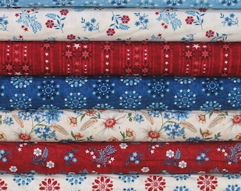 Seven Red, Blue and Beige Fabrics for Sale, 100% Cotton Quilt Fabric Bundle, Heartland Collection by Jennifer Brinley for Studio e Fabrics