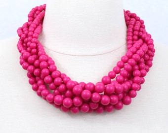 Fuchsia Braided Beaded Necklace Hot Pink Twisted Beads Cluster Necklace Statement Necklace Multi Layered Necklace
