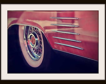 Classic Car Photography, Hot Rod Art, Cadillac, 1950s Wall Art, Diner Decor, Auto Art, Pink, Americana, Colorful Wall Art