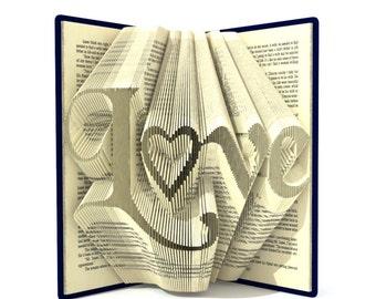 Book folding patterns - LOVE - 278 folds,  + Tutorial folded art Valentine's Day DIY gift - Heart - WO0103