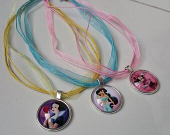 Set of 3 organza cabochons Disney necklaces