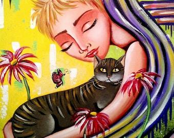 Acrylic on canvas 50x40, grey cat