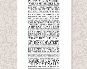 Phenomenal Woman by Maya Angelou (A4) Print Digital Download in 5 colours