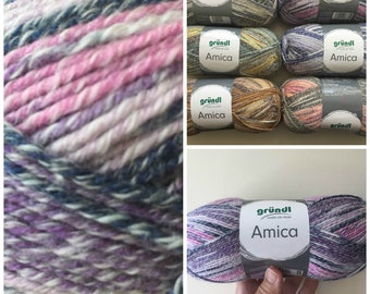 Cotton summer yarn Amica from Gründl purple pink navy blue and white colours for needle size 3.5 - 4.5 100g per ball 300 meter code 07