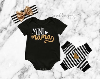 Mini Mama Black and Gold Outfit, Outfit Set, Baby Shower Gift, Gift for Baby Shower, Unique Gift For Baby, 3 PC Set, Mini Me Gift, Baby Gift