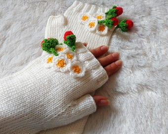 Pure White Fingerless Mittens Gloves with berries