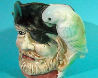 Ceramic cup with Pirate with patch and Parrot on shoulder Made in Japan