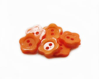 12mm Orange Flower Buttons, Acrylic Buttons, Orange Buttons, Acrylic Buttons, Baby Buttons, Sewing Buttons, DIY Buttons