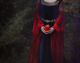 Arwen inspired Elven Blood Red Dress - Replica version LOTR Pagan Handfasting Wiccan Fantasy Medieval
