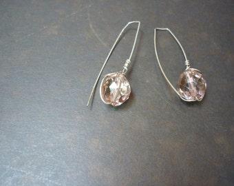 simply elegant blush crystal drop earrings