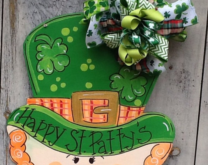 St. Patricks door sign, st. Patricks door hanger, st. Patricks decoration, leprechaun door hanger, st. Party's door sign, luck of the Irish