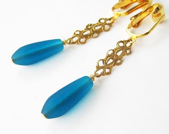 Teal and Gold Clip Earrings, Dark Blue Frosted Glass Teardrops, Brass Filigree Dangle Clipons for Non Pierced Ears, Matte Drops, Boleyn