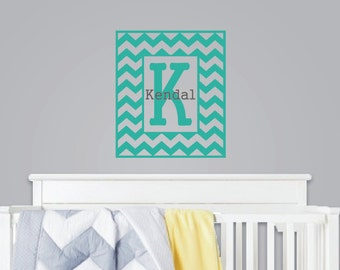 Chevron Wall Decal with Initial and Name - Personalized Chevron Vinyl Decal - Monogrammed Vinyl Wall Lettering - Kids Room - Baby Nursery