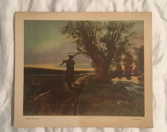 """Antique Print of """"Close of the Day"""" by Louis Emile Adan - 1860's - Vintage Print"""
