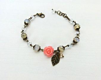 Floral bracelet, Rose bracelet, Bridesmaids bracelet, Wedding bracelet, Flower Girl bracelet, Shabby chic bracelet, Gift for her