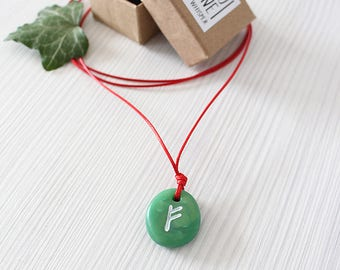 Dark Green Rune Necklace/ Viking Rune Amulet/ Polymer Clay Jade Effect/ Rune Talisman/ Charm Necklace