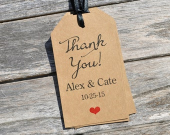 Rustic Wedding Thank You Tags, Bridal Shower Favor Tags, Kraft Favor Tag, Baby Shower Favor Tags, Thank You Favor Tags - Set of 12