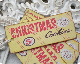 Christmas Cookies Tags (8) Vintage Style Tags-Tags for Christmas-Retro Gift Tags-Gift Tags for Food-Treat Tags-Cookie Labels-Christmas Tags