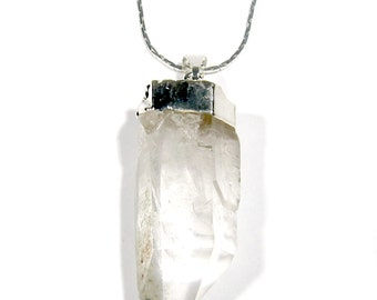 """Quartz Point Pendant with 16"""" Necklace Silver Plated Natural Brazil Quartz Crystal FREE USA SHIPPING!"""