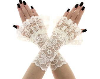 lace gloves ivory gloves bridal gloves wedding gloves women gloves fingerless gloves short gloves ivory gloves fabric lace ivory 2690