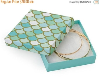 TAX SEASON Stock up 100 Pack Mermaid Scale Design 3.5X3.5X1 Inch Sized Cotton Filled Jewelry Presentation Boxes